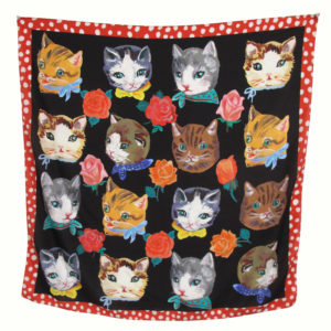 Cat Faces & Rose Heads Scarf By Nathalie Lete