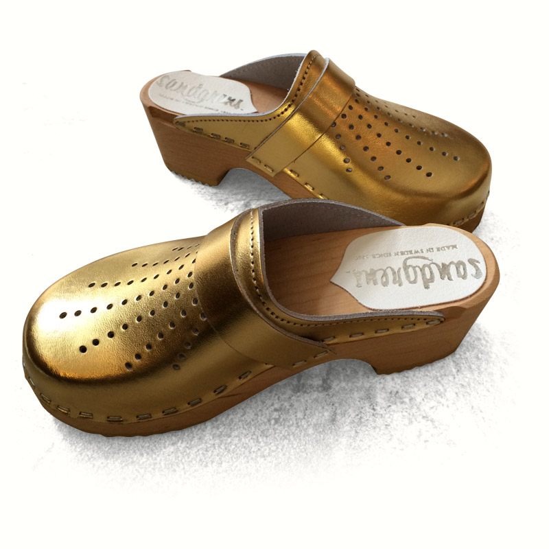 391a7b98e1 Gold Leather Clogs (with punched detail) for Children - Caravan Style