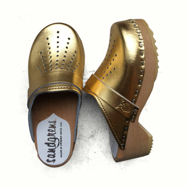 04161dde25 Gold Leather Clogs (with punched detail) for Children