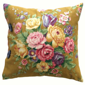 Bright Floral on Mustard vintage cushion with gold backing