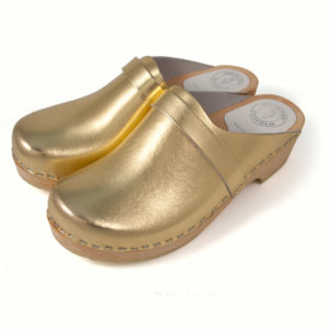 Gold Leather Clogs
