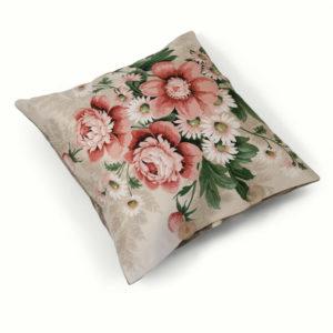 Pink vintage floral cushion