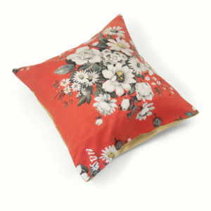 Caravan Style Cushion - white flowers on red