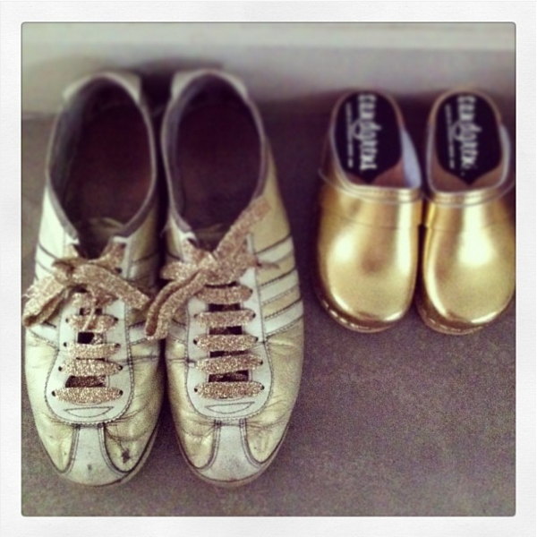 Gold Trainers and Little Gold Clogs