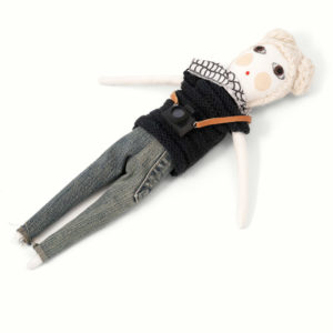 photographer doll with blonde hair and brown eyes