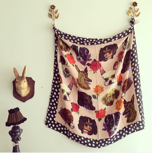 Dog Faces Silk Scarf by Nathalie Lete