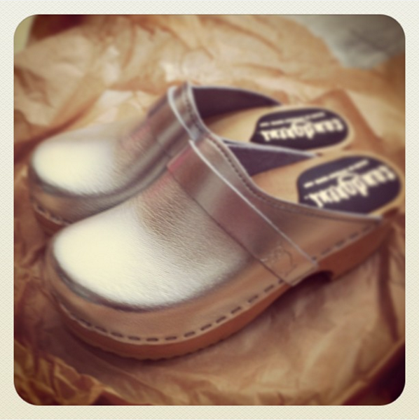 Silver Leather Clogs for Children