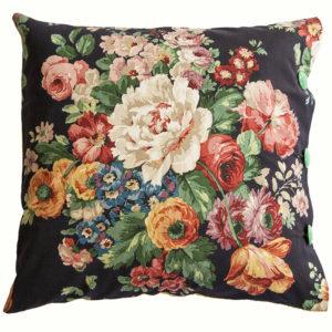 Vintage Floral Cushion - bouquet on black