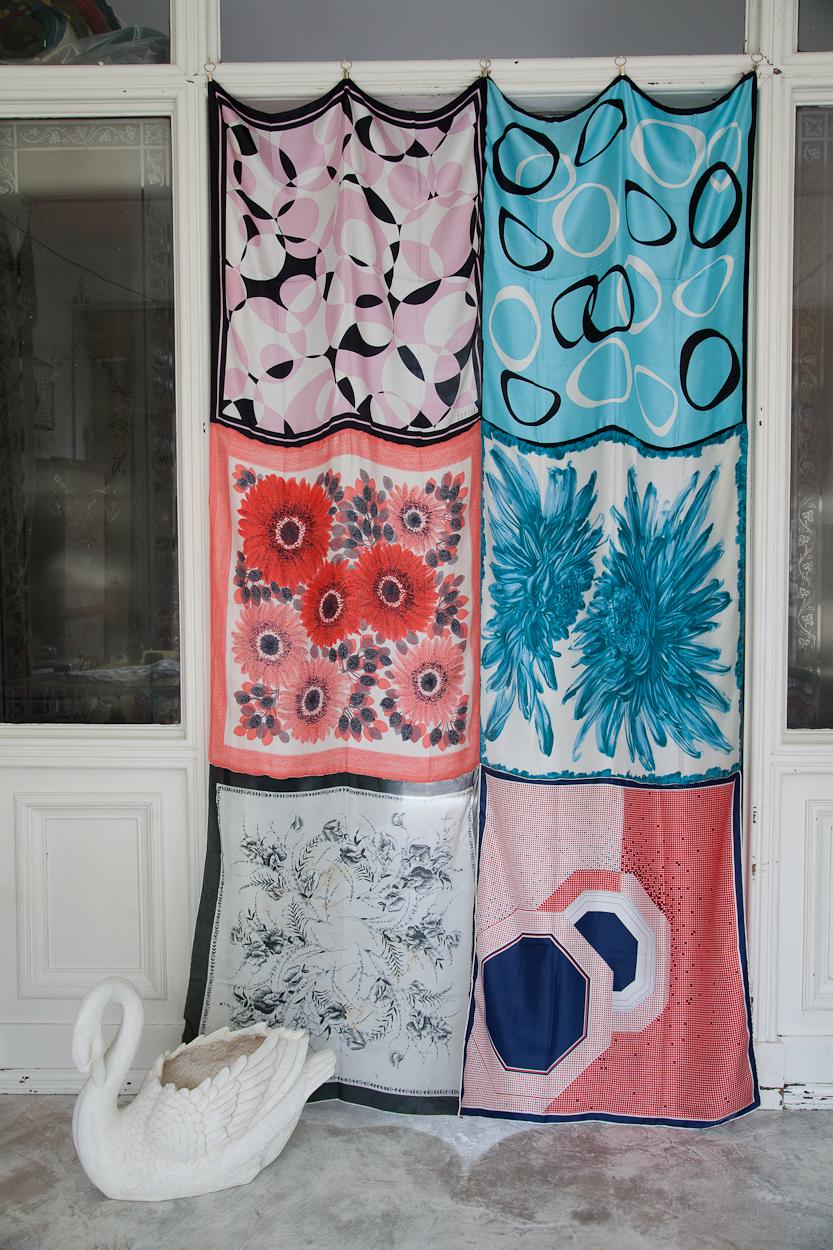 Caravan Style silk scarf drape pink blue