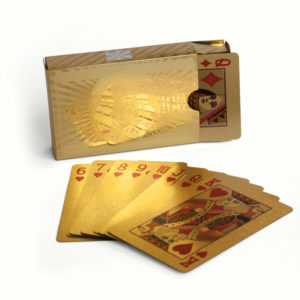 gold playing cards and box