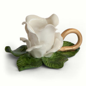 Rose Candle Holder - white