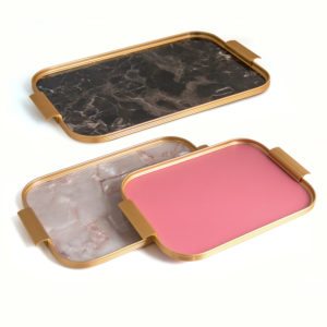 Kaymet Trays - brown marble, onyx, antique pink